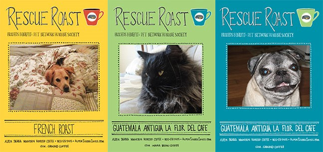 Three coffee labels